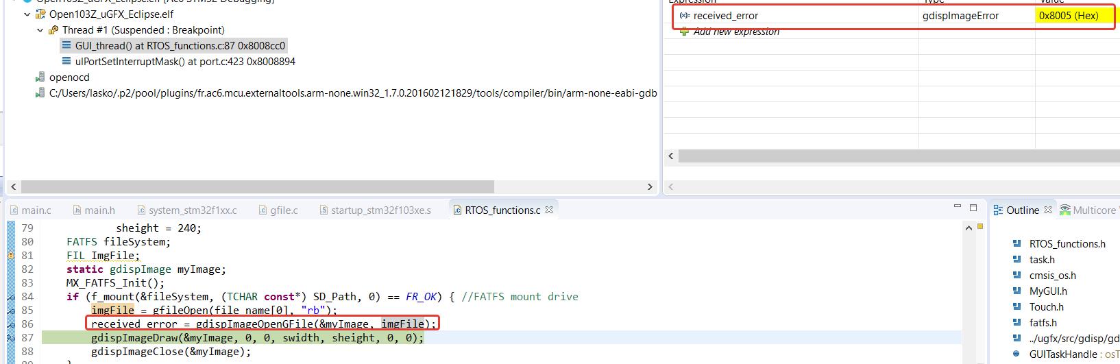 External FATFS use - Support - µGFX Community